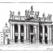 Royalty-Free Stock Vector Image: Basilica of Saint John Lateran in Vatican City, vintage engravin