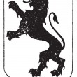 Постер, плакат: Standaing Lion in Coat of Arms vintage engraving