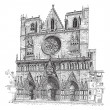 Lyon Cathedral in Lyon,France, vintage engraving — Stockvektor