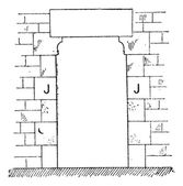 Doorjamb, vintage engraving. — Stock Vector
