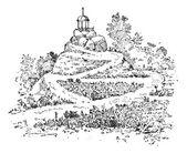 Maze in a garden, vintage engraving. — Stock Vector