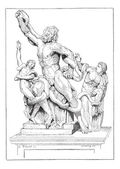 Laocoon and his sons, vintage engraving. — Stock Vector