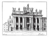 Basilica of Saint John Lateran in Vatican City, vintage engravin — Stock Vector