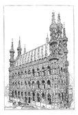 Leuven town hall, vintage engraving. — Stock Vector
