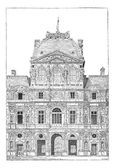 The Louvre Palace, vintage engraving. — Stock Vector