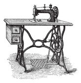 Foot-powered Sewing Machine, vintage engraving — Stockvector