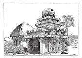 Mahabalipuram in Tamil Nadu, India, vintage engraving — Stock Vector