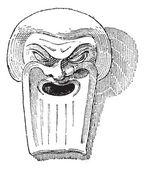 Greek Clay Mask, vintage engraving — Stock Vector