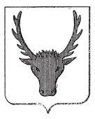Moose Coat of Arms, vintage engraving — Stock Vector