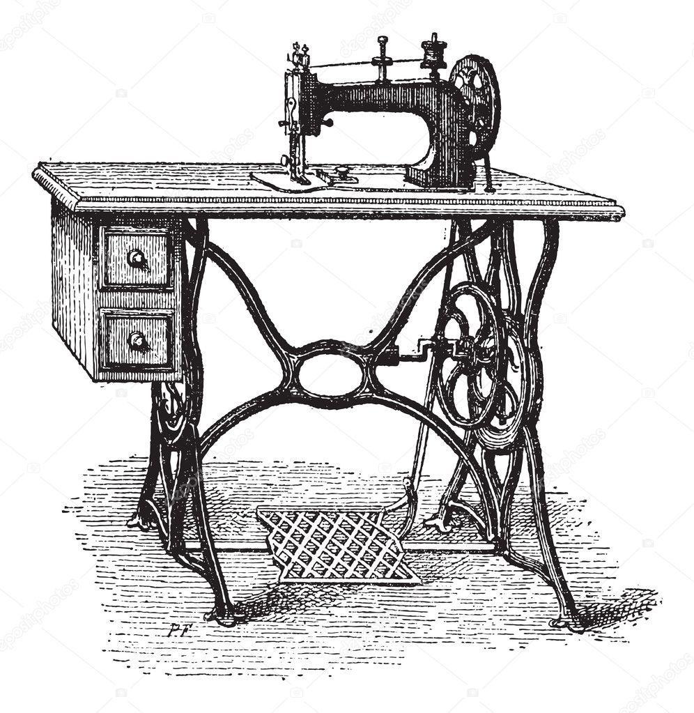 Gravure de p dale machine coudre vintage image for Machine a coudre 974
