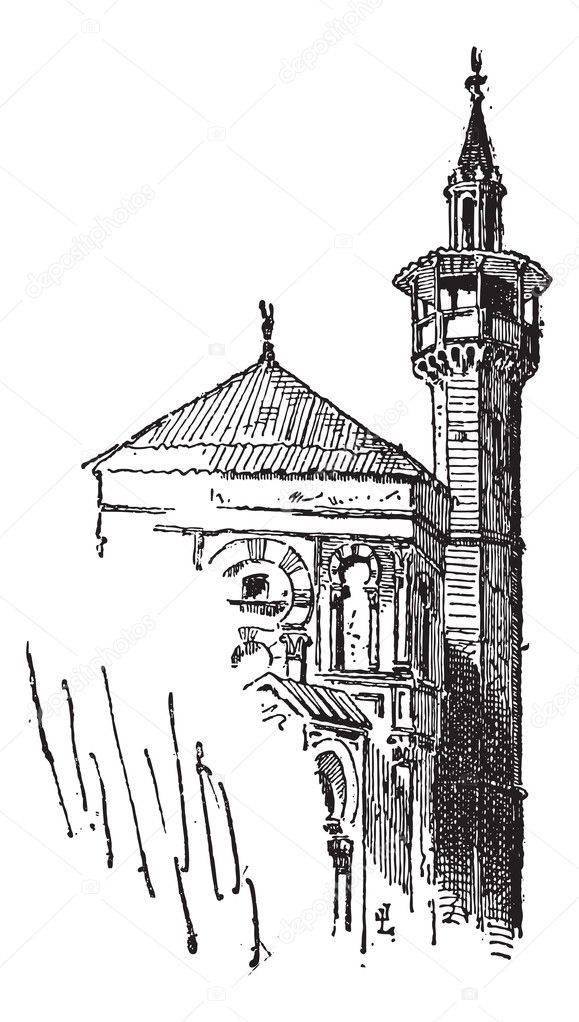 Minaret, at the Great Mosque of Kairouan, in Tunisia, vintage engraved illustration. Dictionary of Words and Things - Larive and Fleury - 1895 — Stock Vector #11009972