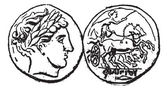 Ancient Macedonian Gold Coin, vintage engraving — ストックベクタ