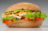 Sanwich with chiken and cheese — Stock Photo