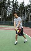 Açık kapı tenis - backhand vuruş — Stok fotoğraf