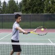 Tennis Backhand Volley — Stock Photo
