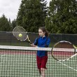 Tennis Backhand Volley for Lefthand Player — Stock Photo