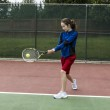 Tennis two handed Backhand for Lefthanded Player — Stock Photo