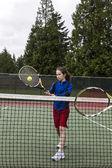 Arzttasche tennis volley für lefthand-player — Stockfoto