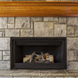 Natural Gas Insert Fireplace with Stone and Wood — Stock Photo
