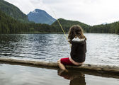 Mountain Lake Fishing — Stock Photo