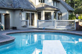 Backyard heated Swimming Pool — Stock Photo