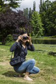 Lady having Fun with Camera — Stockfoto