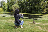 Signora prendendo foto di fauna selvatica — Foto Stock