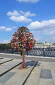 Tree of Love, Luzhkov Bridge. Moscow, Russia — Stock Photo