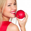 Woman eat red apple — Stock Photo