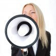 Business woman with megaphone isolated white background — Stock Photo #10738804
