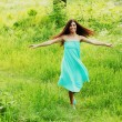 Beautiful Healthy Woman over Nature background — Stock Photo #10738809