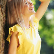Beautiful Healthy Woman over Nature background — Stock Photo