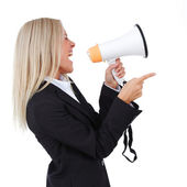 Business woman with megaphone isolated white background — Stock Photo