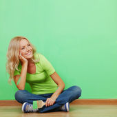 Woman paint on the wall — Stock Photo