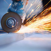 Metal sawing close up — Stock Photo