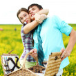 Lovers hug on picnic — Stock Photo