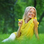 Woman on grass — Stock Photo