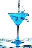 Blue coctail splash — Stock Photo