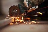 Metal sawing — Stock Photo