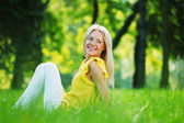 Woman on grass — Stockfoto
