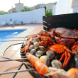Crabs shrimps on charcoal grill — Stock Photo #11365892
