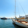 Yacht in port — Stock Photo