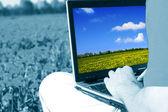Laptop nature work — Stock fotografie