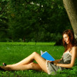 Beautiful woman read book under the tree - Stock Photo