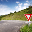 Road stop sign in france - Stock Photo