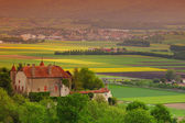 Germany lanscape castle and fields — Stock Photo