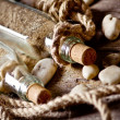 Royalty-Free Stock Photo: Vintage still life with bottle and seashell