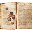 Stock Photo: Old decrepit book with copper coins