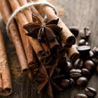 Cinnamon and coffee beans — Stock Photo