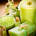 Vintage green spa still life with handmade soap — Stock Photo